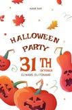 Cartel para el partido de Halloween con las calabazas ilustración del vector