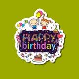 Cartel para los saludos del cumpleaños Foto de archivo libre de regalías