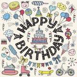 Cartel para los saludos del cumpleaños Fotografía de archivo libre de regalías