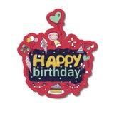 Cartel para los saludos del cumpleaños Imágenes de archivo libres de regalías