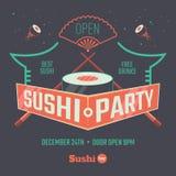 Cartel patry del sushi Foto de archivo libre de regalías