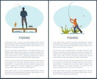 Cartel pesquero o que pesca con caña de la afición o de la actividad del deporte stock de ilustración