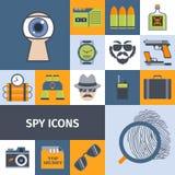 Cartel plano de la composición de los iconos de los artilugios del espía Fotografía de archivo