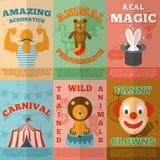 Cartel plano de la composición de los iconos del circo ilustración del vector