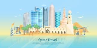 Cartel plano del horizonte de Qatar Fotos de archivo