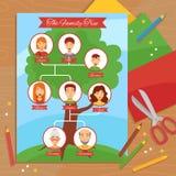 Cartel plano del trabajo hecho a mano creativo del árbol de familia ilustración del vector
