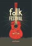 Cartel popular del festival Ejemplo tipográfico retro del vector del grunge Fotos de archivo