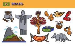 Cartel promocional del destino del viaje del Brasil con símbolos del país stock de ilustración