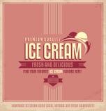 Cartel promocional del helado del vintage Imágenes de archivo libres de regalías