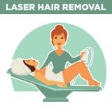 Cartel promocional del retiro del pelo del laser con el amo y el cliente del salón libre illustration