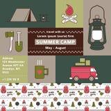 Cartel promocional firme turístico Campamento de verano Ilustración del Vector