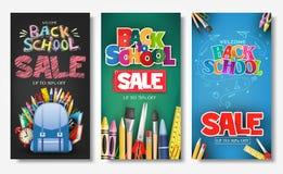 Cartel promocional y bandera verticales fijados con estilos creativos de nuevo a los títulos de texto de la venta de la escuela ilustración del vector