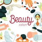 Cartel promotiobal del salón de belleza con el equipo para los procedimientos ilustración del vector