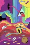 Cartel psicodélico en un estilo retro stock de ilustración