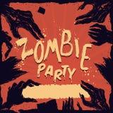 Cartel putrefacto del partido del cartel de las manos del zombi, ejemplo del vector Fotografía de archivo libre de regalías