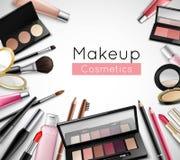 Cartel realista de la composición de los accesorios de los cosméticos del maquillaje ilustración del vector