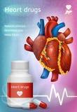 Cartel realista de la promoción del vector de las drogas de corazón ilustración del vector