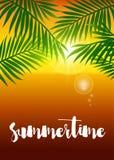 Cartel realista de la puesta del sol del verano del vector con la hoja de palma Foto de archivo