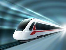 Cartel realista del ferrocarril del tren de la velocidad Fotografía de archivo