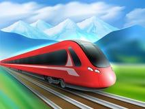 Cartel realista del fondo de las montañas del tren de la velocidad Foto de archivo libre de regalías