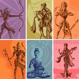 Cartel religioso indio del vintage de dios y de la diosa stock de ilustración