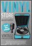 Cartel retro coloreado vintage de Music Store ilustración del vector