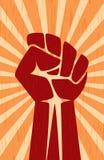 Cartel retro comunista del vintage de la propaganda soviética de la revolución de la mano del puño ilustración del vector