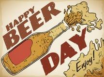 Cartel retro con la botella de cerveza deliciosa para celebrar el día de la cerveza, ejemplo del vector stock de ilustración