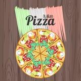 Cartel retro con la pizza y la bandera italianas Imagen de archivo
