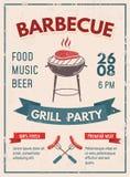Cartel retro de la barbacoa con efecto del grunge Invitación d del partido del Bbq stock de ilustración