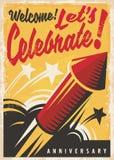 Cartel retro de la celebración del aniversario stock de ilustración