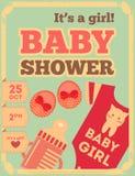 Cartel retro de la fiesta de bienvenida al bebé Imagenes de archivo