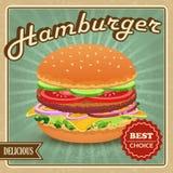 Cartel retro de la hamburguesa Foto de archivo libre de regalías