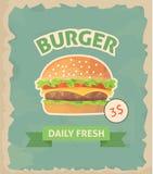 Cartel retro de la hamburguesa Imagen de archivo libre de regalías