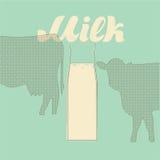 Cartel retro de la leche del vector Fotografía de archivo
