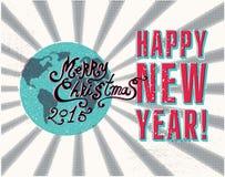 Cartel retro de la Navidad del vector Imagen de archivo