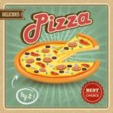 Cartel retro de la pizza Imagen de archivo libre de regalías