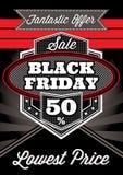 Cartel retro de la plantilla para Black Friday Fotografía de archivo libre de regalías