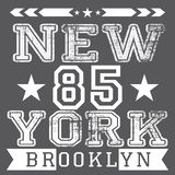 Cartel retro de la tipografía del vintage de New York City, diseño de la impresión de la camiseta, etiqueta del Applique de la in