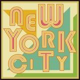 Cartel retro de la tipografía del vintage de New York City, diseño de la impresión de la camiseta, etiqueta del Applique de la in Foto de archivo libre de regalías