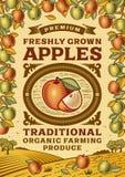 Cartel retro de las manzanas Imagen de archivo
