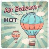 Cartel retro del baloon del aire caliente Imagen de archivo libre de regalías