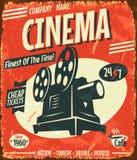 Cartel retro del cine del Grunge Foto de archivo libre de regalías