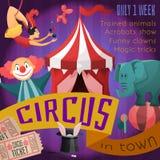 Cartel retro del circo Imágenes de archivo libres de regalías
