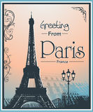 Cartel retro del estilo de Copyspace con el fondo de París Foto de archivo libre de regalías