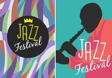 Cartel retro del festival de jazz Fotos de archivo libres de regalías