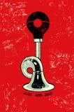 Cartel retro del grunge con el claxon Ilustración del vector Imagen de archivo libre de regalías