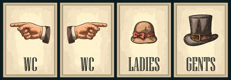 Cartel retro del grunge del vintage del retrete Señoras, centavos, señalando el finger stock de ilustración