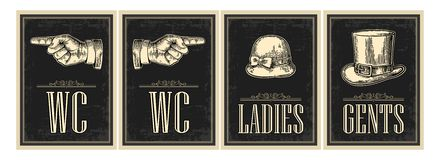 Cartel retro del grunge del vintage del retrete Señoras, centavos, señalando el finger Vector el ejemplo grabado vintage en un fo ilustración del vector