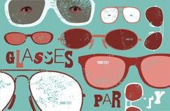 Cartel retro del grunge para el partido de los vidrios Fondo de los vidrios Ilustración del vector Imagen de archivo libre de regalías